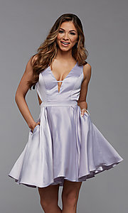 Image of short satin homecoming dress with side cut outs. Style: PG-THC-21-55 Front Image