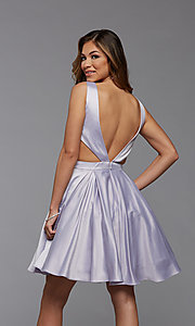 Image of short satin homecoming dress with side cut outs. Style: PG-THC-21-55 Back Image