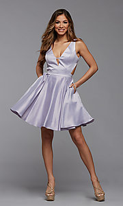 Image of short satin homecoming dress with side cut outs. Style: PG-THC-21-55 Detail Image 1