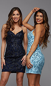 Image of tight sequin PromGirl short homecoming dance dress. Style: PG-BHC-21-23 Front Image