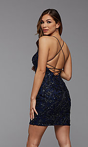 Image of tight sequin PromGirl short homecoming dance dress. Style: PG-BHC-21-23 Detail Image 3