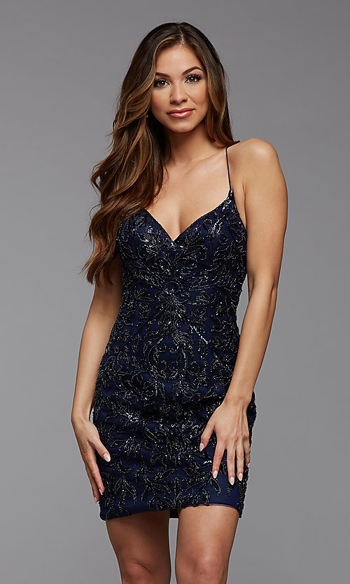 Image of tight sequin PromGirl short homecoming dance dress. Style: PG-BHC-21-23 Detail Image 2