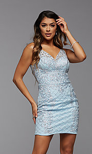 Image of PromGirl beaded short tight homecoming party dress. Style: PG-BHC-21-24 Detail Image 1
