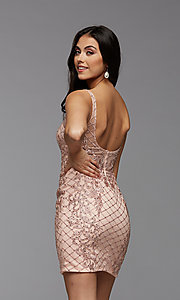 Image of PromGirl beaded short tight homecoming party dress. Style: PG-BHC-21-24 Back Image