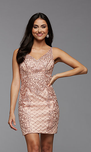 PromGirl Beaded Short Tight Homecoming Party Dress
