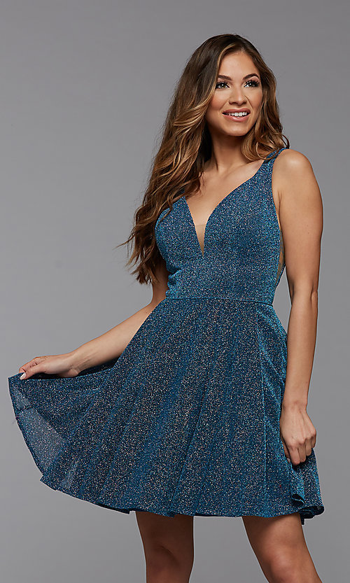Image of lakeside blue glitter short a-line homecoming dress. Style: PG-BHC-21-29 Front Image