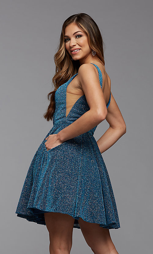 Image of lakeside blue glitter short a-line homecoming dress. Style: PG-BHC-21-29 Back Image
