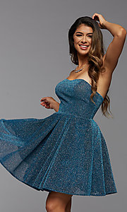 Image of short glitter strapless PromGirl homecoming dress. Style: PG-BHC-21-32 Front Image
