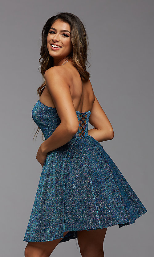 Image of short glitter strapless PromGirl homecoming dress. Style: PG-BHC-21-32 Back Image