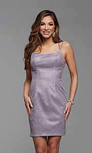 Image of short tight PromGirl homecoming glitter dress. Style: PG-BHC-21-34 Detail Image 1