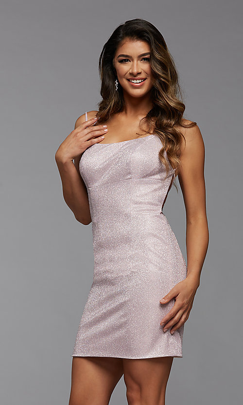 Image of short tight PromGirl homecoming glitter dress. Style: PG-BHC-21-34 Front Image