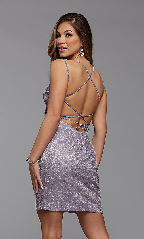 Image of short tight PromGirl homecoming glitter dress. Style: PG-BHC-21-34 Detail Image 2