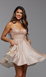Image of short glitter corset-back homecoming dress. Style: PG-BHC-21-38 Detail Image 1
