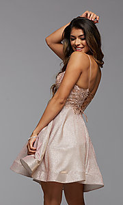 Image of short glitter corset-back homecoming dress. Style: PG-BHC-21-38 Detail Image 2
