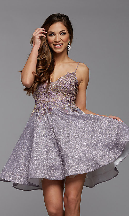 Image of short glitter corset-back homecoming dress. Style: PG-BHC-21-38 Front Image