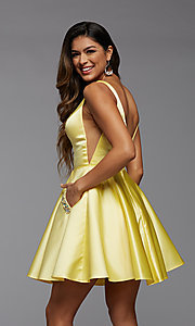 Image of short satin homecoming party dress with sheer sides. Style: PG-FHC-21-03 Detail Image 1