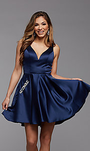 Image of short satin homecoming party dress with sheer sides. Style: PG-FHC-21-03 Detail Image 2