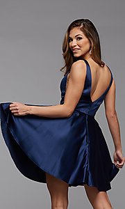 Image of short satin homecoming party dress with sheer sides. Style: PG-FHC-21-03 Detail Image 4