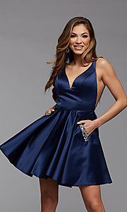 Image of short satin homecoming party dress with sheer sides. Style: PG-FHC-21-03 Detail Image 3