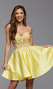 Image of sheer-corset short homecoming dress with lace. Style: PG-FHC-21-10 Front Image