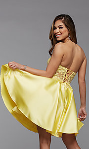 Image of sheer-corset short homecoming dress with lace. Style: PG-FHC-21-10 Back Image
