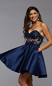 Image of sheer-corset short homecoming dress with lace. Style: PG-FHC-21-10 Detail Image 2