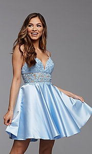 Image of PromGirl short homecoming dress with sheer waist. Style: PG-FHC-21-11 Detail Image 2