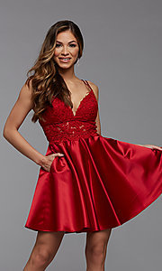 Image of PromGirl short homecoming dress with sheer waist. Style: PG-FHC-21-11 Front Image