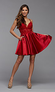 Image of PromGirl short homecoming dress with sheer waist. Style: PG-FHC-21-11 Detail Image 1