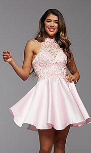 Image of embroidered-bodice short flared homecoming dress. Style: PG-FHC-21-12 Front Image