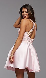 Image of embroidered-bodice short flared homecoming dress. Style: PG-FHC-21-12 Detail Image 1