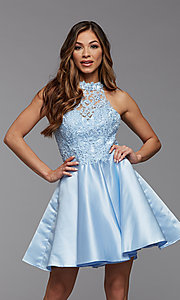 Image of embroidered-bodice short flared homecoming dress. Style: PG-FHC-21-12 Detail Image 2