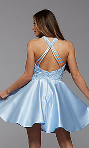 Image of embroidered-bodice short flared homecoming dress. Style: PG-FHC-21-12 Detail Image 3
