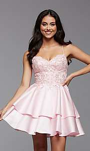 Image of PromGirl short homecoming dress with beaded bodice. Style: PG-FHC-21-13 Front Image