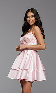 Image of PromGirl short homecoming dress with beaded bodice. Style: PG-FHC-21-13 Detail Image 1