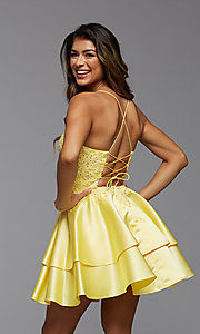 Image of PromGirl short homecoming dress with beaded bodice. Style: PG-FHC-21-13 Detail Image 3