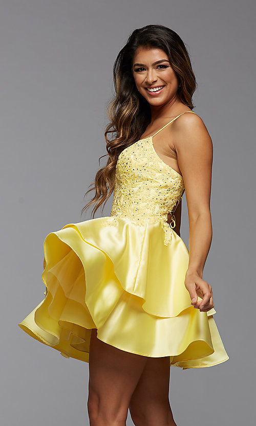 Image of PromGirl short homecoming dress with beaded bodice. Style: PG-FHC-21-13 Detail Image 2