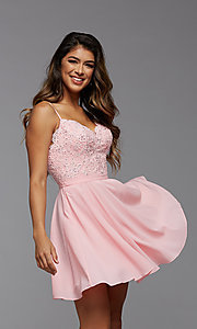Image of short a-line homecoming dance dress with beading. Style: PG-FHC-21-14 Front Image