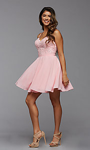 Image of short a-line homecoming dance dress with beading. Style: PG-FHC-21-14 Detail Image 1