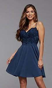 Image of short a-line homecoming dance dress with beading. Style: PG-FHC-21-14 Detail Image 2