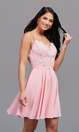 Short A-Line Homecoming Dance Dress with Beading