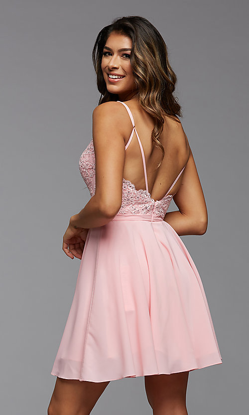 Image of short a-line homecoming dance dress with beading. Style: PG-FHC-21-14 Back Image