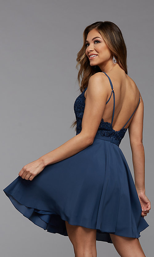 Image of short a-line homecoming dance dress with beading. Style: PG-FHC-21-14 Detail Image 3
