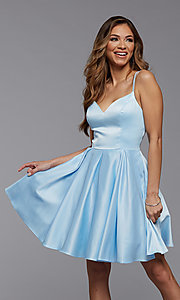 Image of cute short satin a-line homecoming party dress. Style: PG-THC-21-48 Front Image