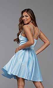 Image of cute short satin a-line homecoming party dress. Style: PG-THC-21-48 Back Image