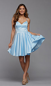 Image of cute short satin a-line homecoming party dress. Style: PG-THC-21-48 Detail Image 1