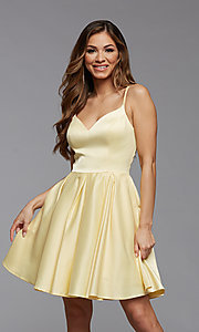 Image of cute short satin a-line homecoming party dress. Style: PG-THC-21-48 Detail Image 2