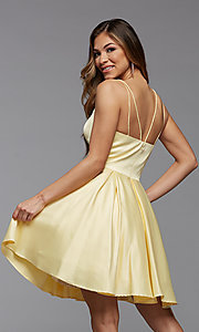 Image of cute short satin a-line homecoming party dress. Style: PG-THC-21-48 Detail Image 3