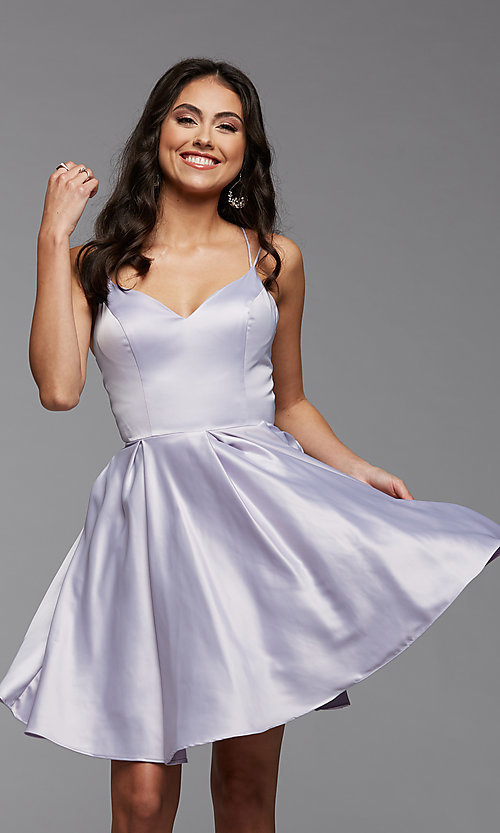 Image of cute short satin a-line homecoming party dress. Style: PG-THC-21-48 Detail Image 4