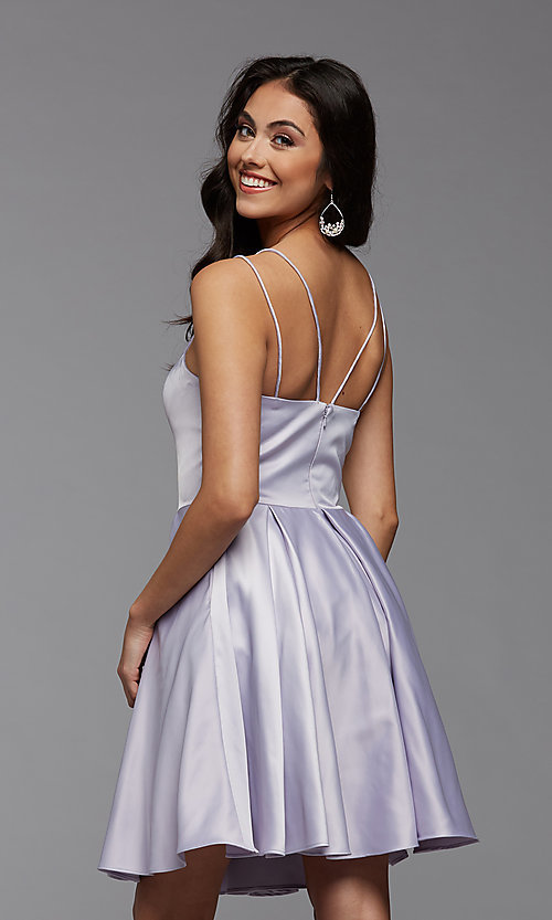 Image of cute short satin a-line homecoming party dress. Style: PG-THC-21-48 Detail Image 5